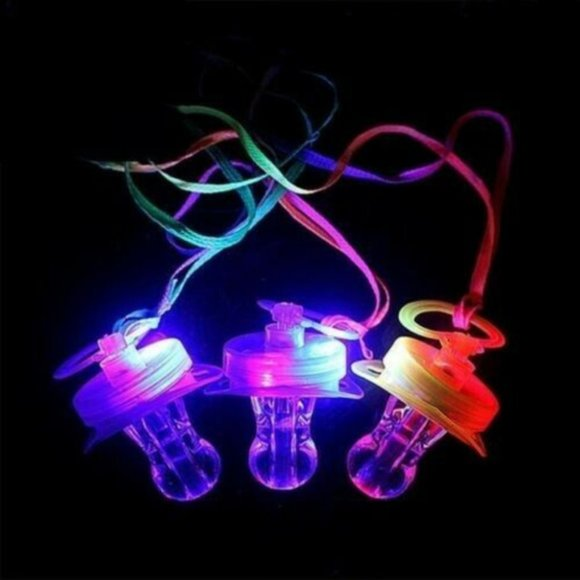 LED RAVE PACIFIER 12pk - Flashing Lights Necklace